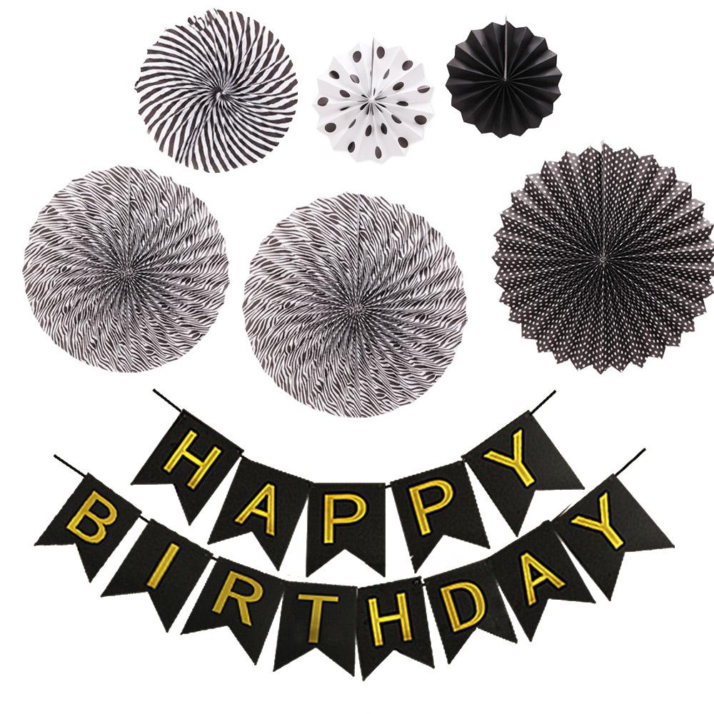 파티공구 생일가랜드 파티팬데코세트, 블랙, 1세트