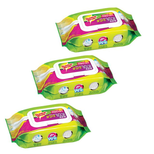 쓰리엠 표준형 물걸레 더블액션 청소포 20매, 3개