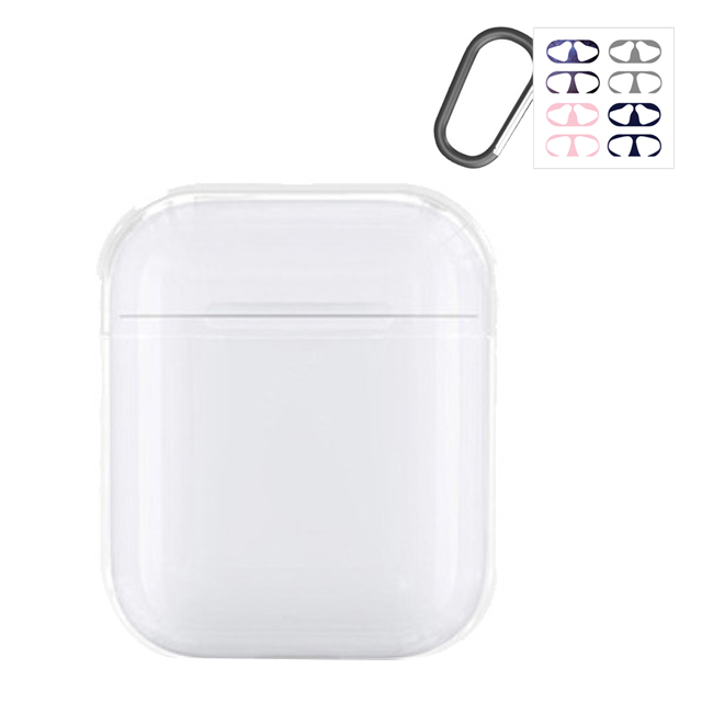 아이엠판다 애플 에어팟 1세대 2세대 하드 케이스 + 카라비너 + 철가루 방지 스티커 4종 랜덤발송, 단일 상품, 투명