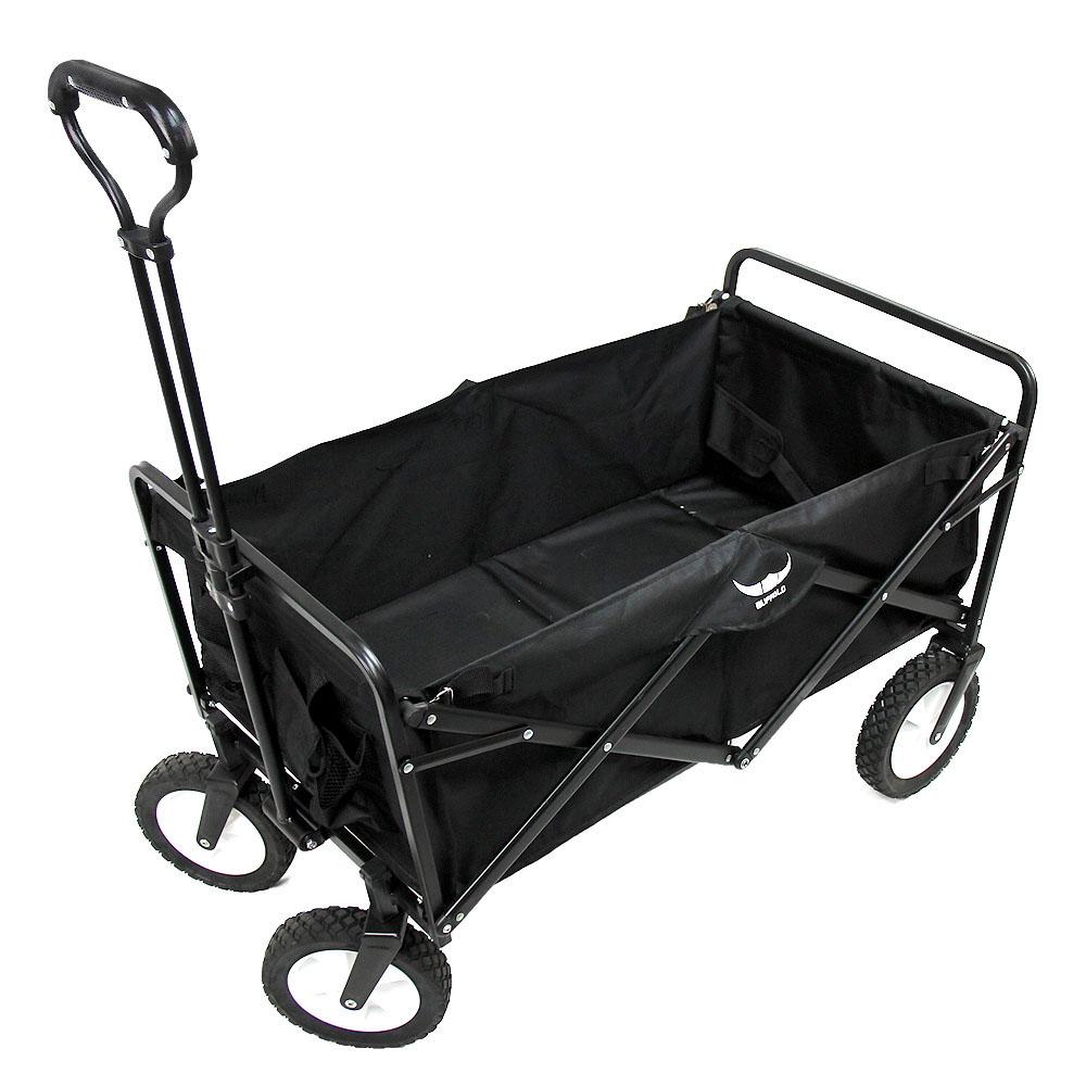 버팔로 지지하중 120kg 캠핑 폴딩 카트 + 보관용 가방 세트, 블랙, 1세트