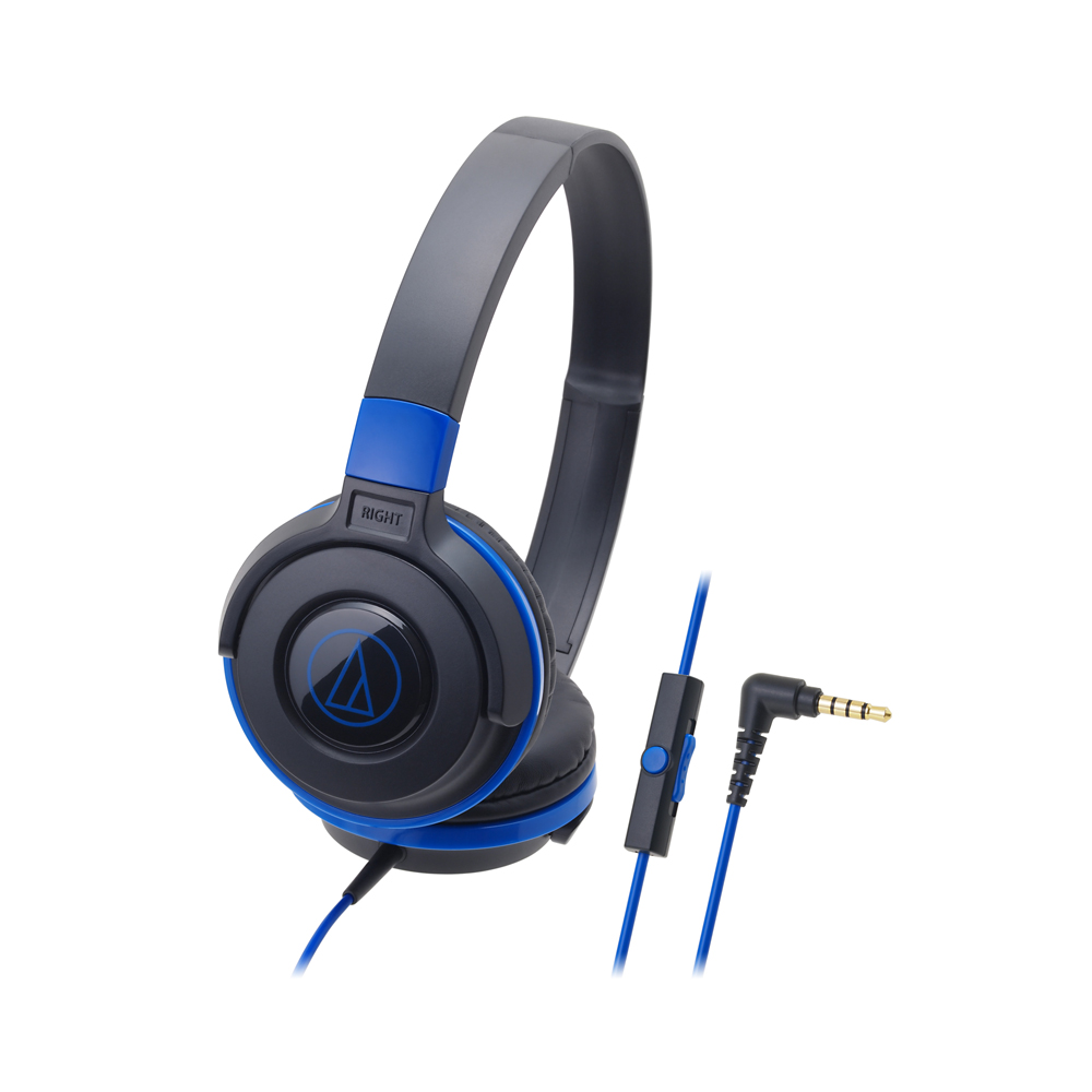 오디오테크니카 초경량 스마트폰용 온이어 헤드폰, 블랙 + 블루, ATH-S100iS