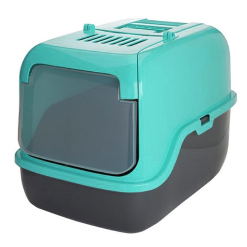 푸르미 고양이 후드형 3door 화장실 + 모래삽 + 필터, 민트
