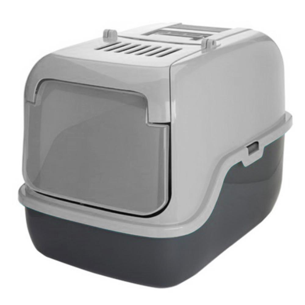 푸르미 고양이 3door 후드형 화장실 + 모래삽 + 필터, 라이트그레이