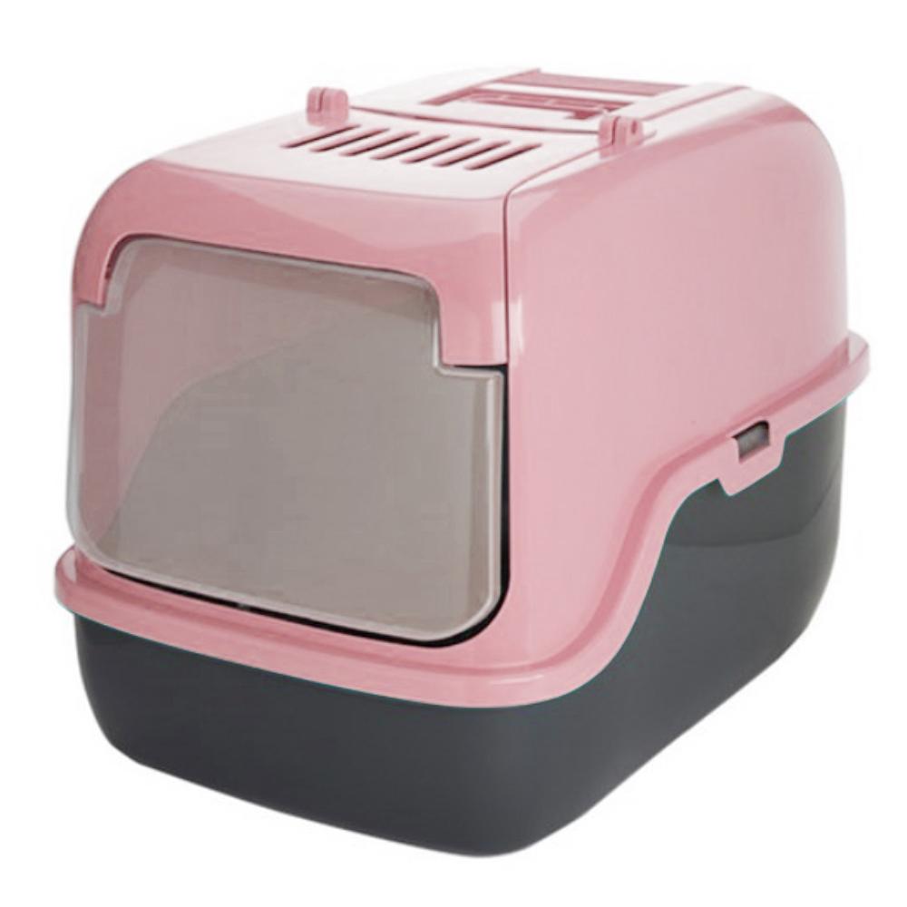 푸르미 고양이 후드형 3door 화장실 + 모래삽 + 필터, 인디핑크