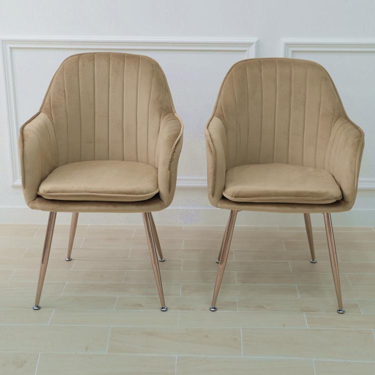 골드임페리얼 식탁 카페 의자 2p, 베이지