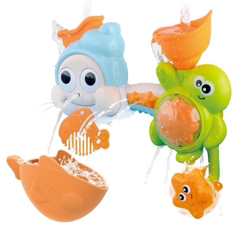 레츠토이 빙글빙글 유아 목욕놀이 장난감 소라와거북이, 혼합색상