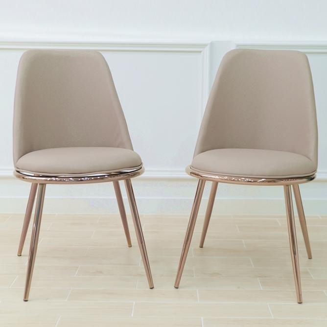 의자명가 골드 써클 식탁 카페 의자 2p, 베이지