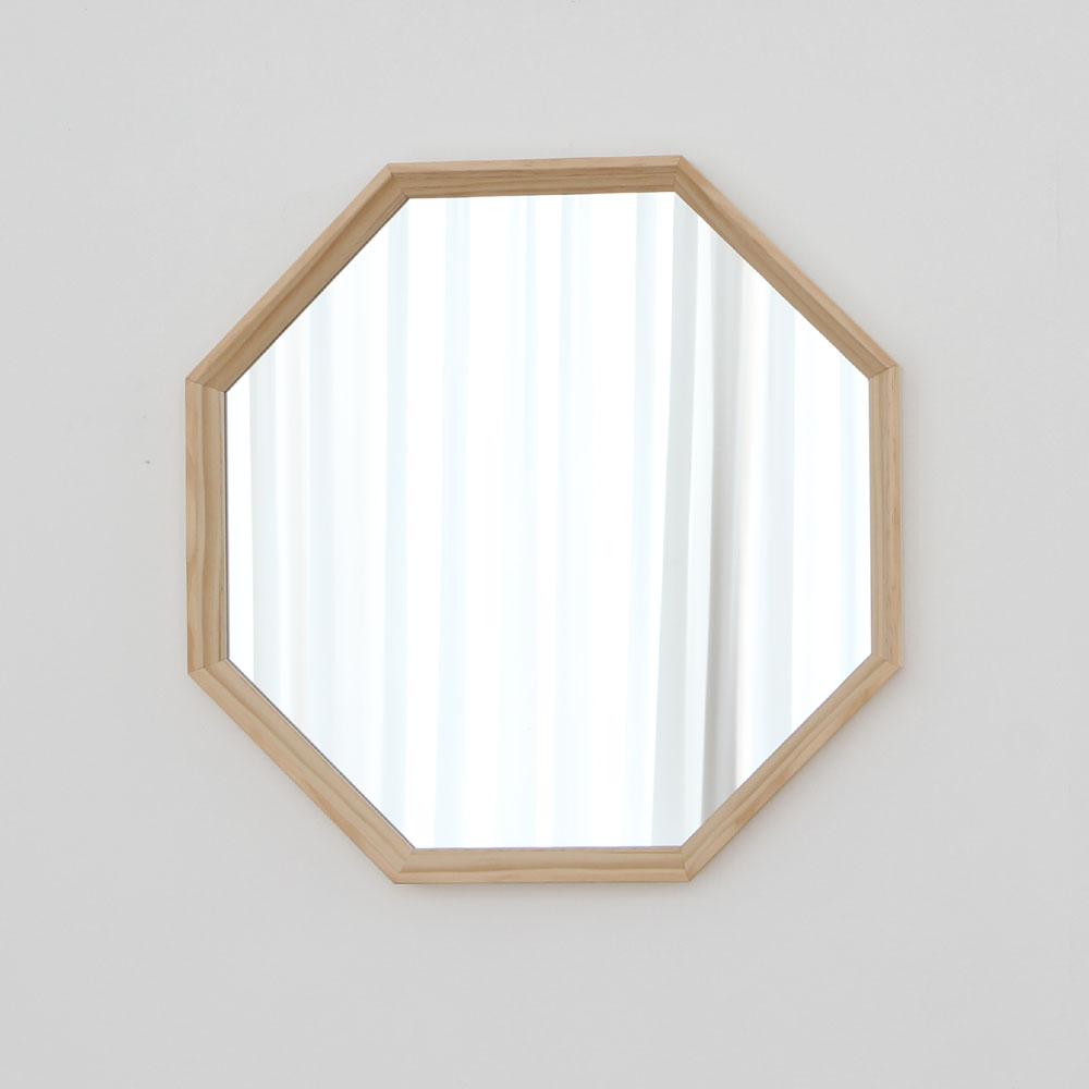 럼버잭 정팔각 사선 원목 벽거울, 혼합색상