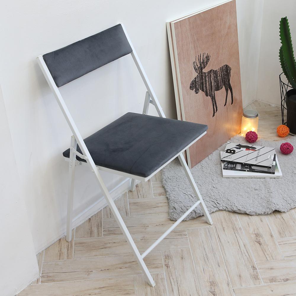 까사마루 노블레 벨벳 접이식 의자, 그레이 + 화이트