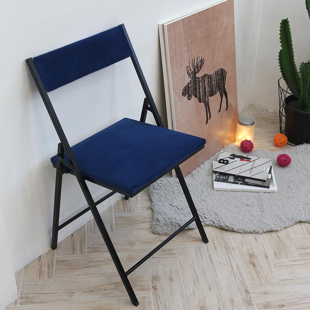까사마루 노블레 벨벳 접이식 의자, 다크블루 + 블랙