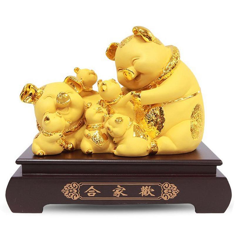 사라코 개업 선물 인테리어 풍수 용품 황금 복돼지 7가족 조각상, 황금색