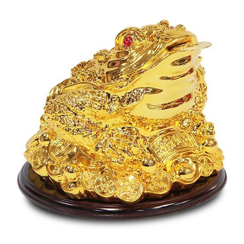 사라코 개업 선물 풍수용품 원형 황금 삼족 두꺼비 조각상, 황금색