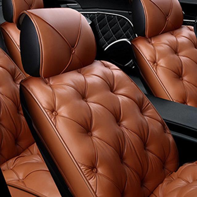 리무진 타입 차량용 2인용 앞좌석 가죽 시트 커버 기본 세트, 카멜, 1세트