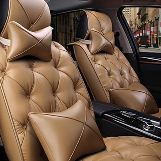 리무진 타입 차량용 전좌석 가죽 시트 커버 쿠션 세트, 라떼, 1세트