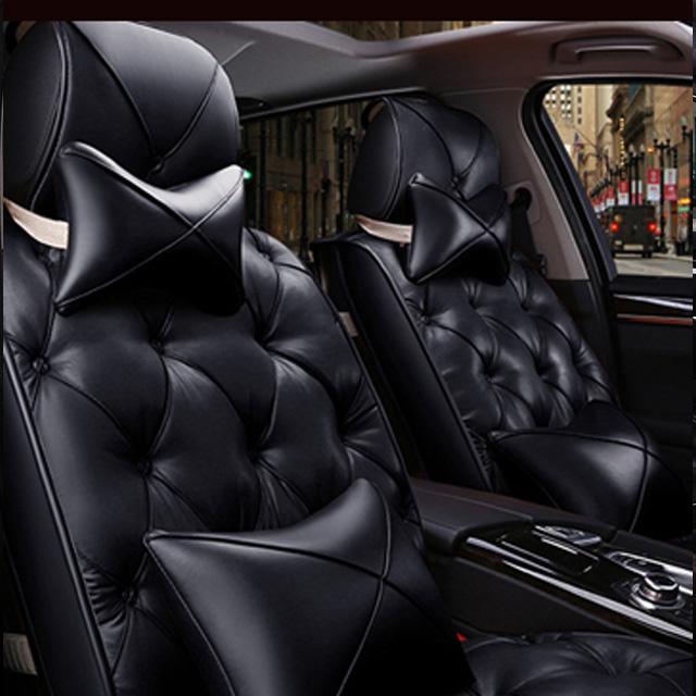 리무진 타입 차량용 전좌석 가죽 시트 커버 쿠션 세트, 블랙, 1세트