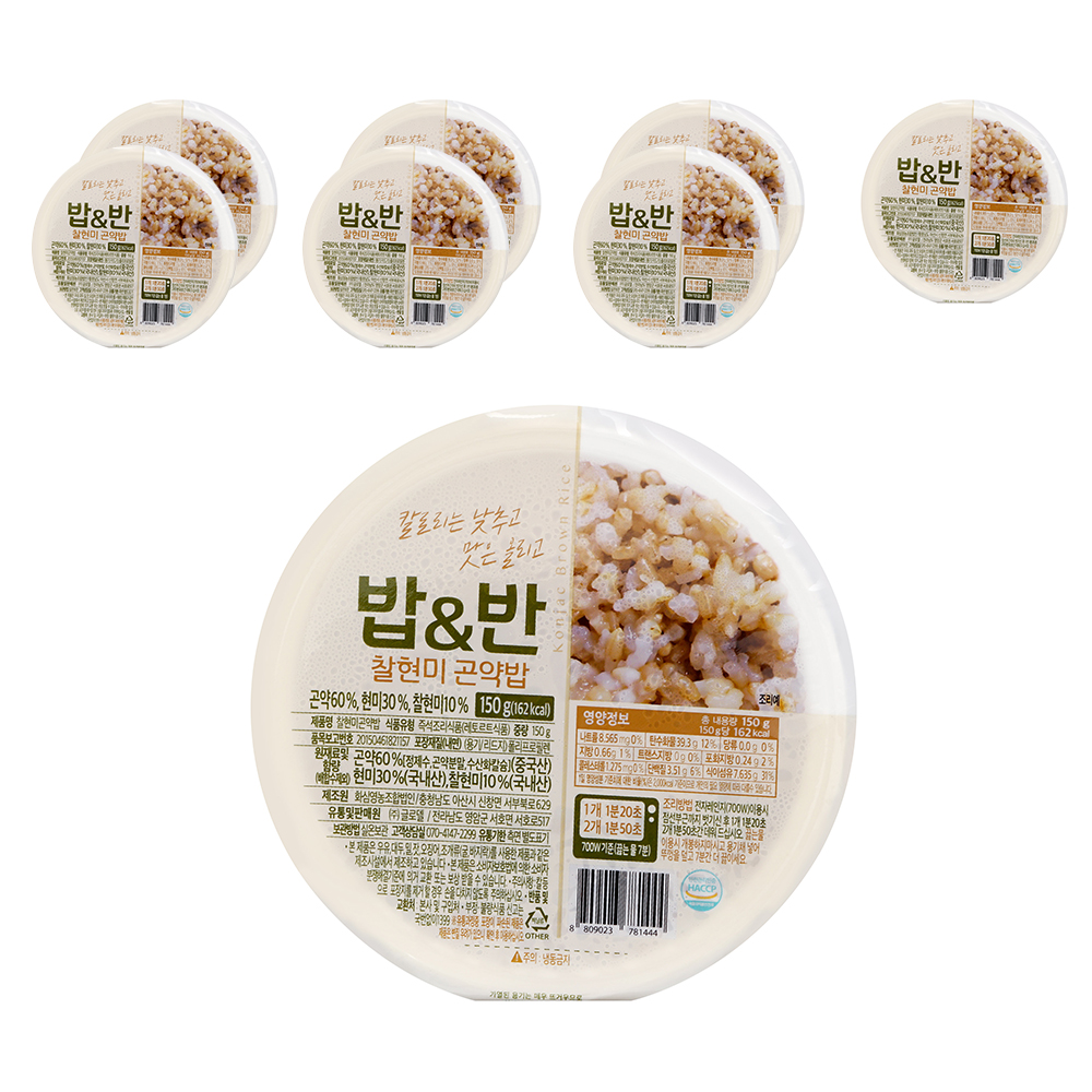 밥앤반 찰현미 곤약밥, 150g, 8개