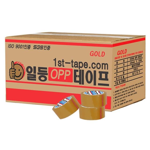 일등 박스테이프 경포장 황색 80m, 50개