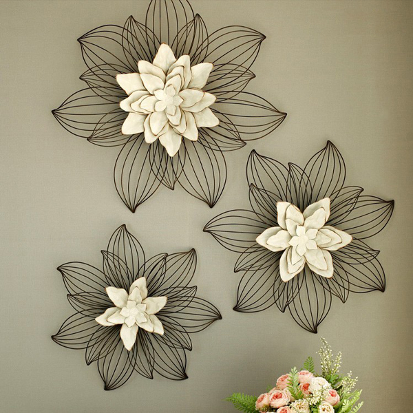 루미아 베나 플라워 철제 인테리어 벽장식, 아이보리 + 초코브라운