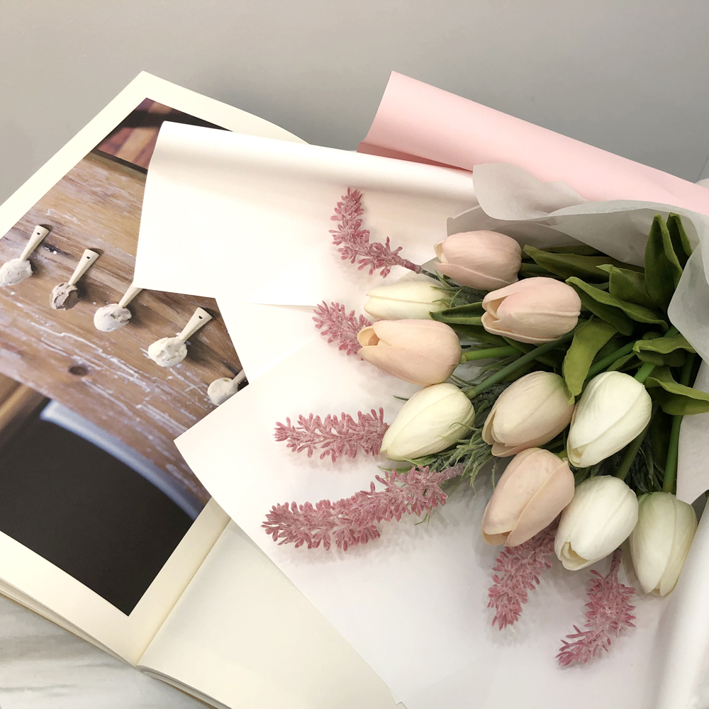 이플린 조화 라벤더 튤립꽃다발, 화이트 + 핑크