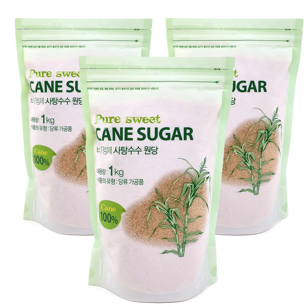 퓨어스윗 비정제 사탕수수원당, 1kg, 3개