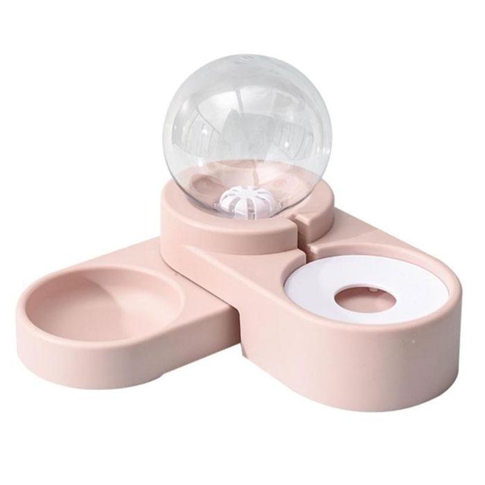 딩동펫 반려 동물 반자동 구슬 더블식기, 핑크, 1개
