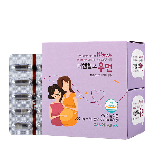 지엠팜 더헴철포우먼 임산부 철분제, 60정, 2개