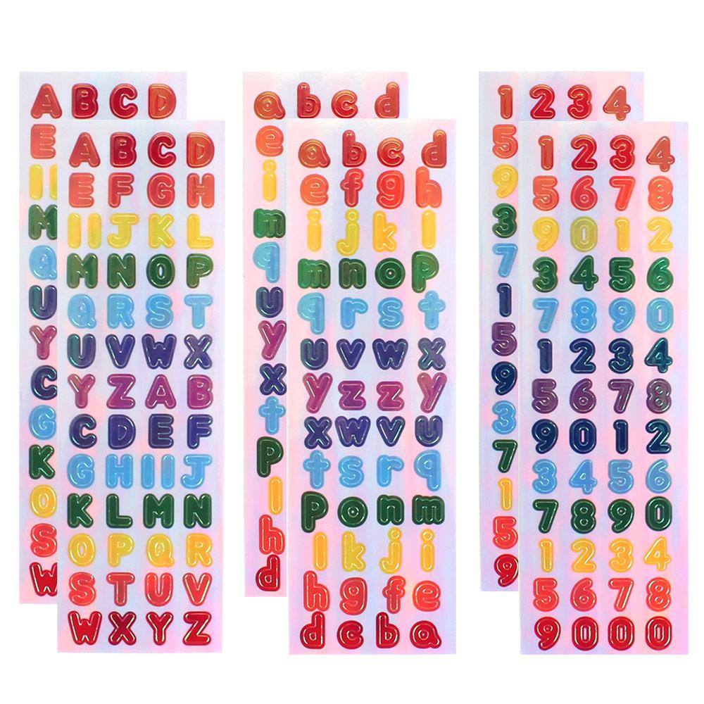 스티커마켓 오로라스티커 Vol7 3종 x 2p 세트, 알파벳대, 알파벳소, 숫자, 1세트