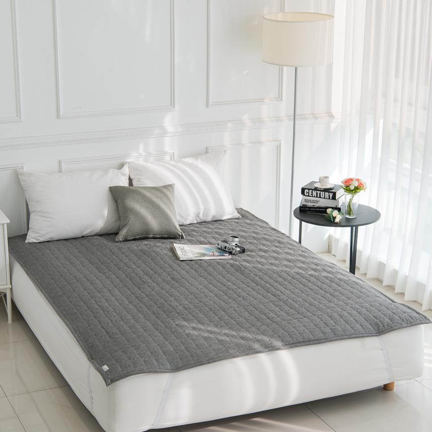 아잠 순면 자연섬유 선염 침대 방수 패드, 멜란차콜