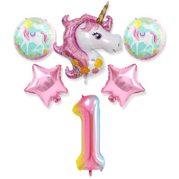 파티야놀자 유니콘 생일 풍선 세트, 핑크, 1세트