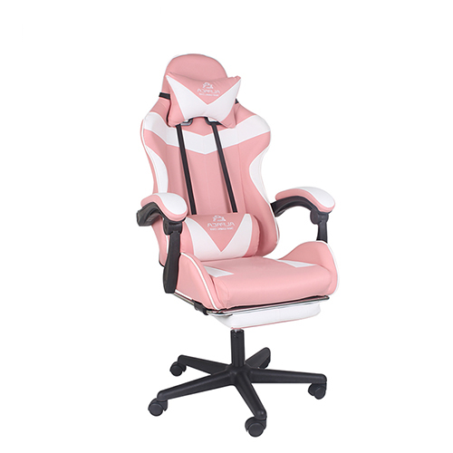 알파카 프리미엄형 발 받침 게이밍 의자, 핑크