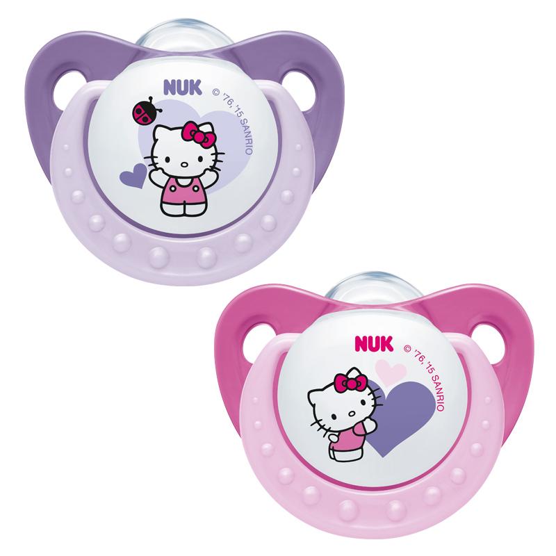 누크 헬로키티 노리개 젖꼭지 2종 세트, S1(0~6개월), 핑크, 보라