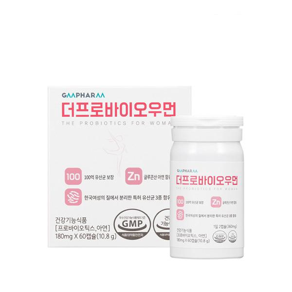 지엠팜 더프로바이오우먼 유산균 영양제, 60정, 1개