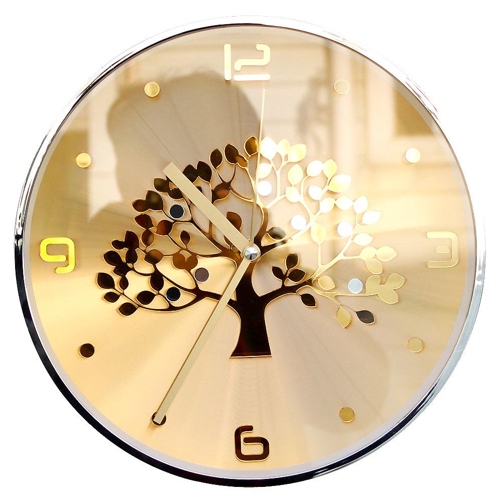 행운나무 벽시계 31cm, 골드