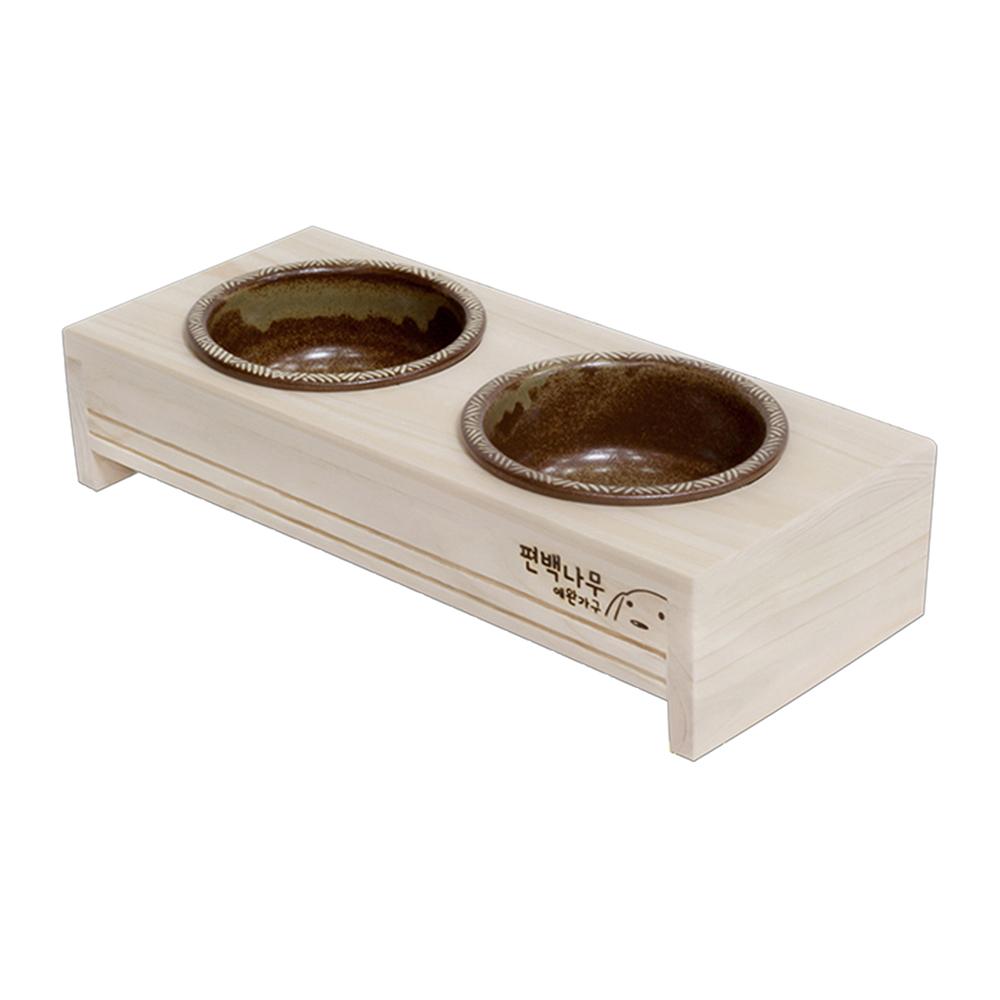 수제작 편백나무 원목 강아지 고양이 식탁 + 도자기 밥그릇 2구 세트, 혼합색상, 1세트