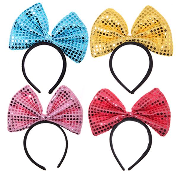 뉴 큐티 리본 머리띠 중, 레드, 블루, 옐로우, 핑크, 4개