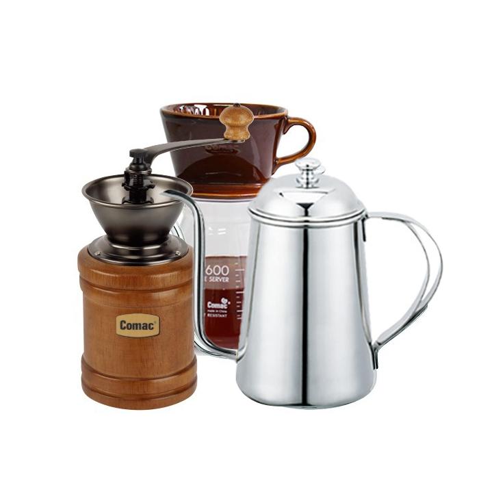 코맥 자기 커피드립세트 브라운 DN4 + 이중날 커피밀 오픈형 M0 + 드립주전자 바리스타 K1, 혼합색상, 1세트