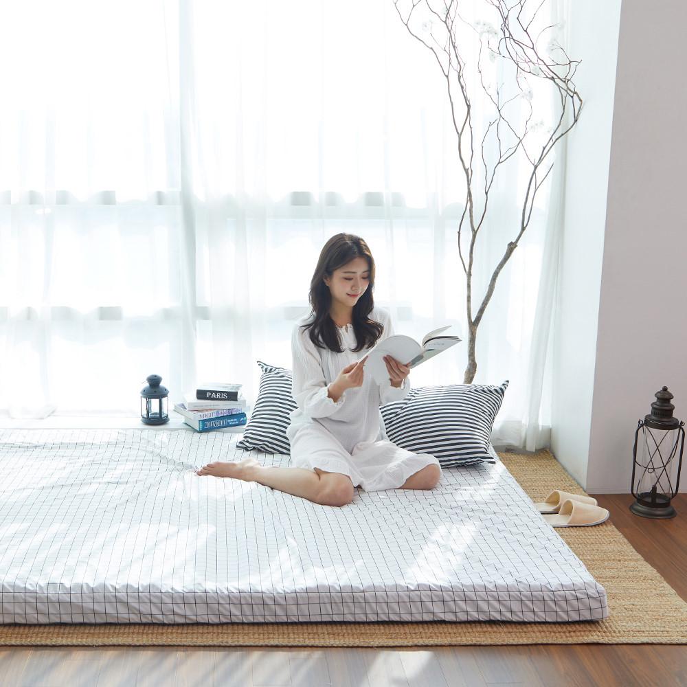 라익미 초코 매트리스 침대용, 화이트그리드