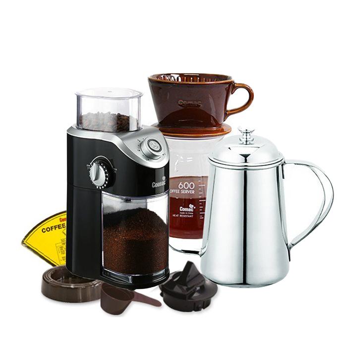 코맥 자기 커피드립세트 브라운 DN4 + 전동 커피그라인더 ME4 + 드립주전자 바리스타 K1, 혼합색상, 1세트