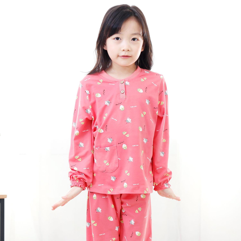 키즈라인 여아용 병아리 잠옷 상하세트