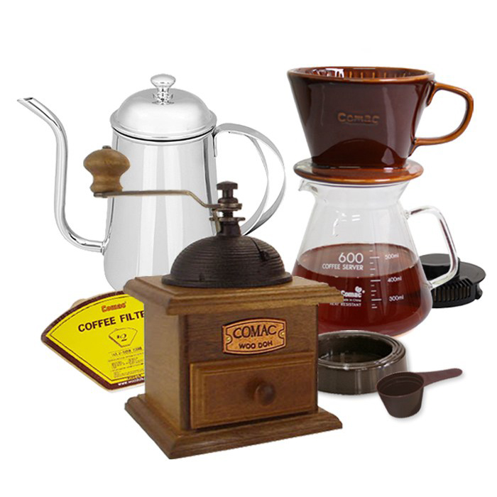 코맥 이중날 커피밀 주물 M4 소 + 커피드립 DN4 + 바리스타 드립 주전자 K1 세트, 혼합색상, 1세트