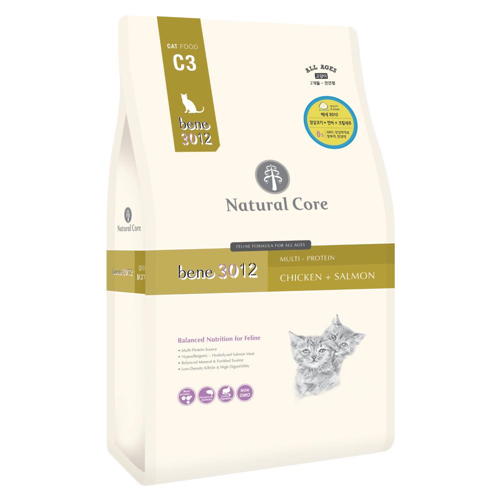 네츄럴코어 생후 3개월 C3 베네 3012 고양이 건식 사료, 닭 + 연어, 9kg