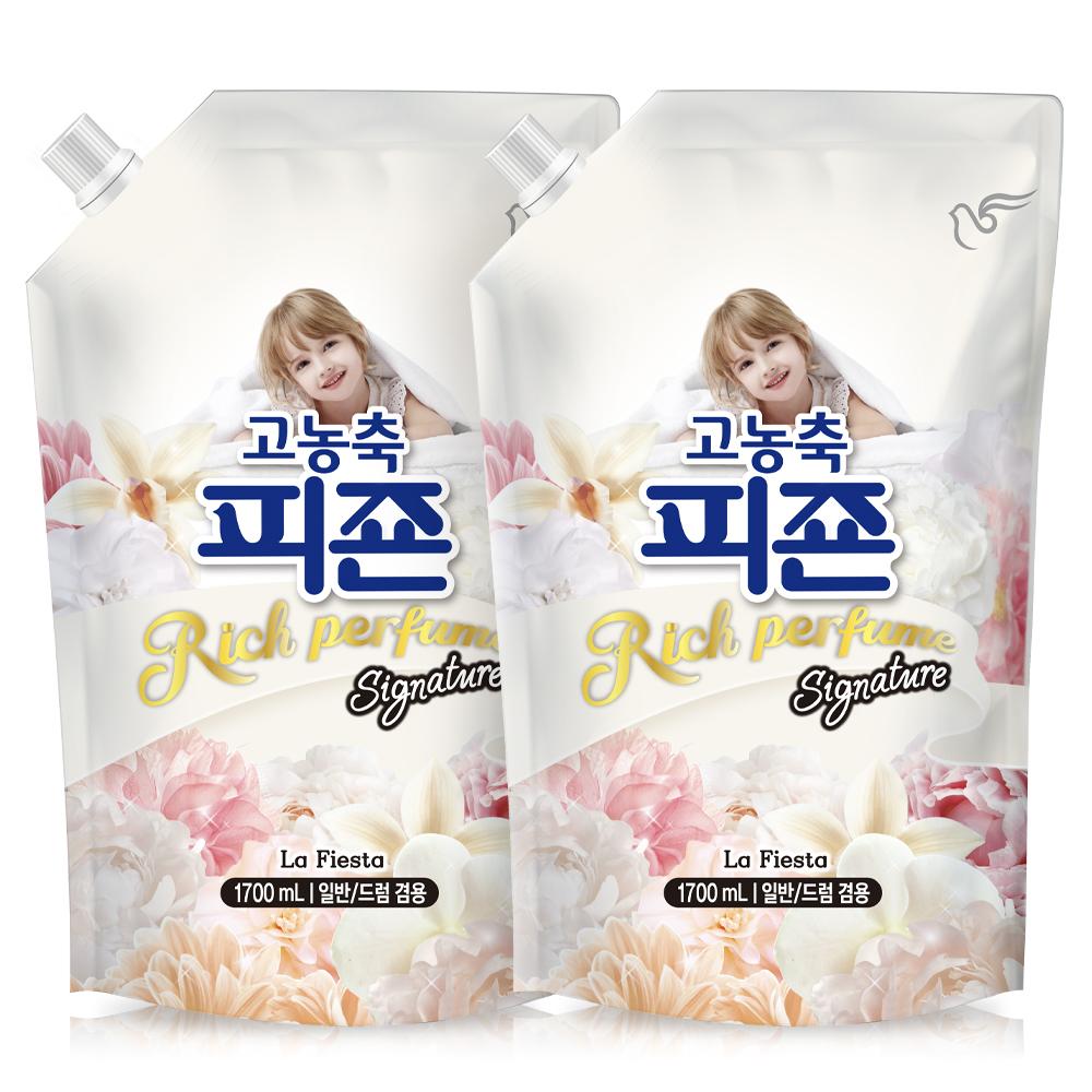 피죤 고농축 리치퍼퓸 시그니처 섬유유연제 라피에스타 리필, 1.7L, 2개
