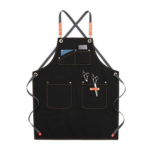 하마테 포켓배색 가죽포인트 앞치마 에이프런, 블랙, 1개