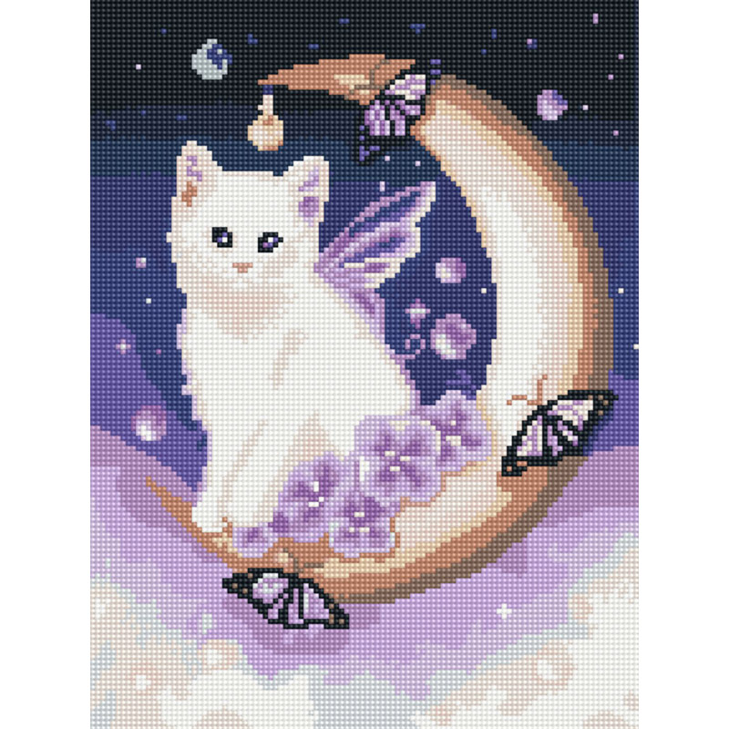 아트조이 DIY 보석십자수 캔버스형 30 x 40 cm, 달빛 고양이, 1개
