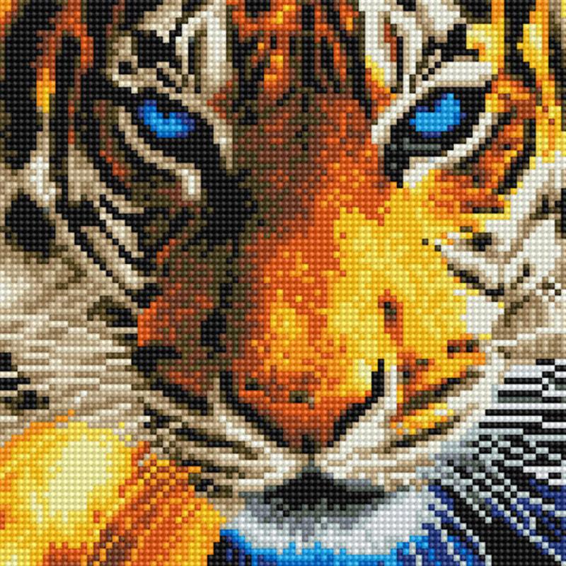 아트조이 DIY 보석십자수 캔버스형 25 x 25 cm, 푸른 눈 호랑이, 1세트