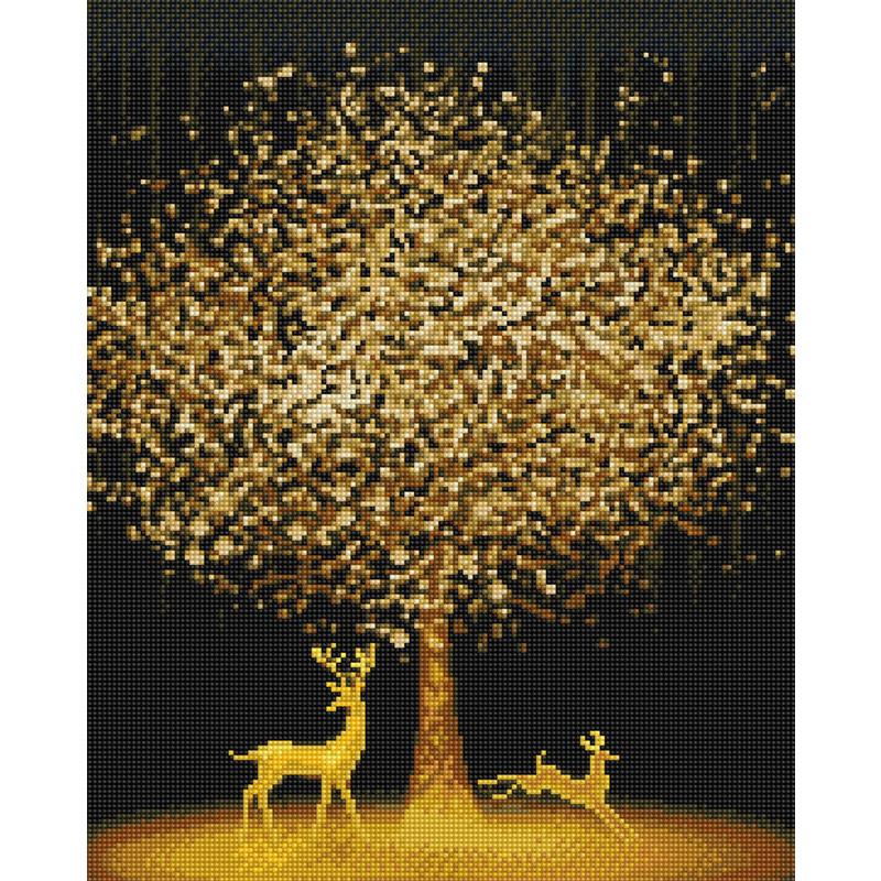 아트조이 DIY 보석 십자수 캔버스형 50 x 40 cm, 황금나무와 꽃사슴, 1개