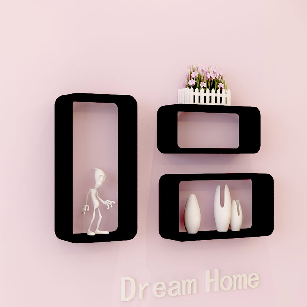 21세기트랜드 직사각 벽선반 3종세트, 블랙
