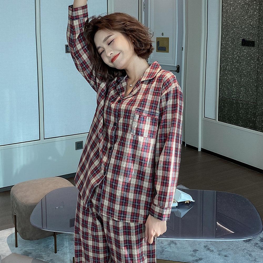 글램공감 여성용 타탄체크 투피스 잠옷 상하세트