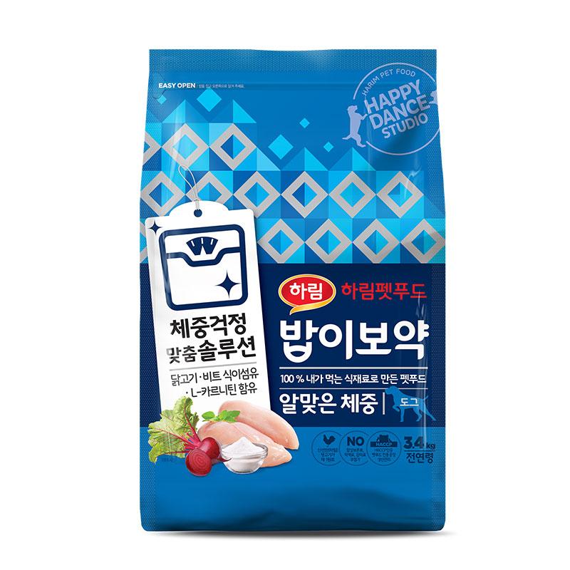 밥이보약 전연령 알맞은 체중 강아지 건식 사료, 닭고기 + 비트 + 식이섬유 + L카르니틴, 3.4kg