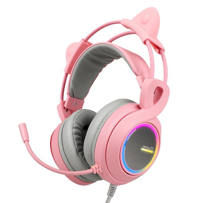 앱코 가상 7.1 RGB 진동 게이밍 헤드셋, B771, 핑크